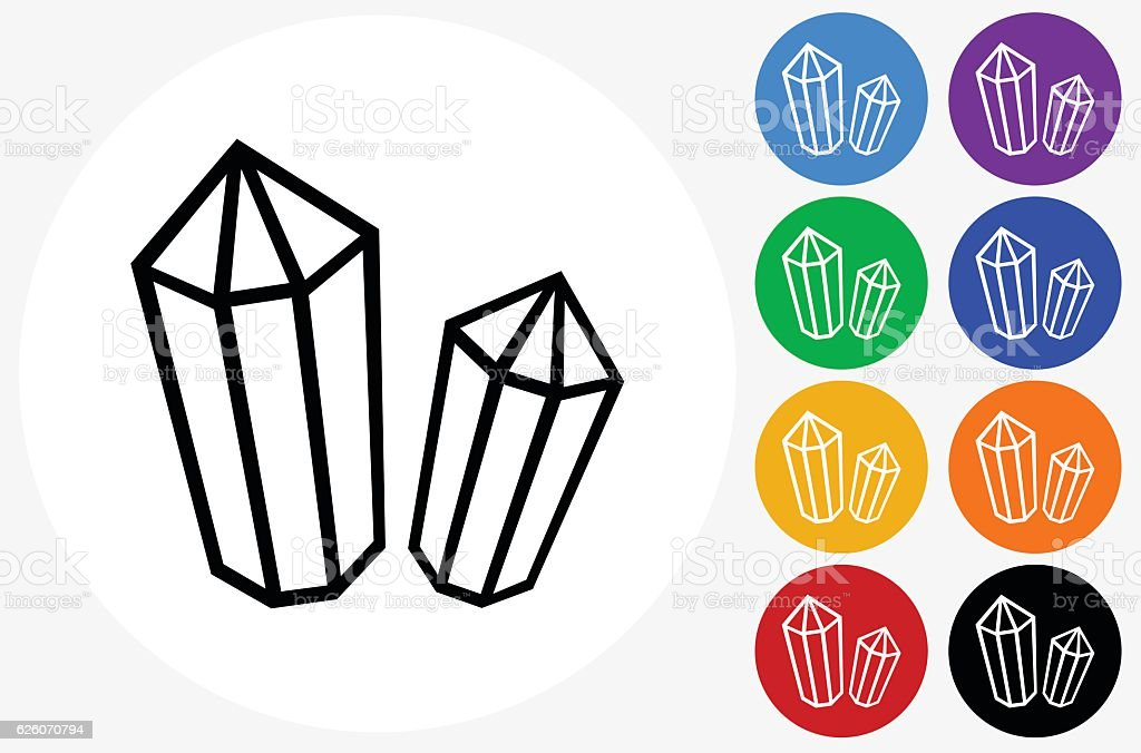 Crystal and Minerals Icon on Flat Color Circle Buttons vector art illustration