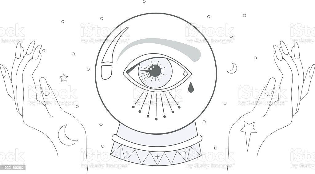 Crystal Ball vector art illustration