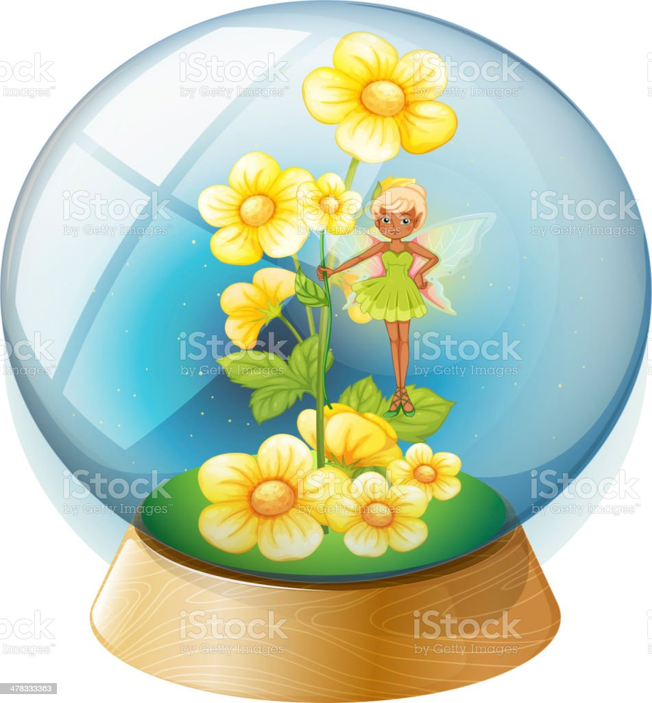 Crystal ball with pink flowers and a fairy royalty-free stock vector art