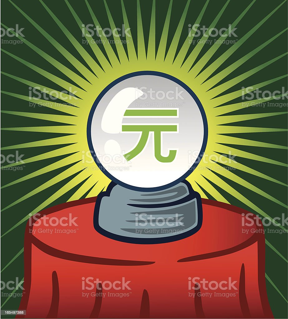 Crystal Ball With Yuan Sign royalty-free stock vector art