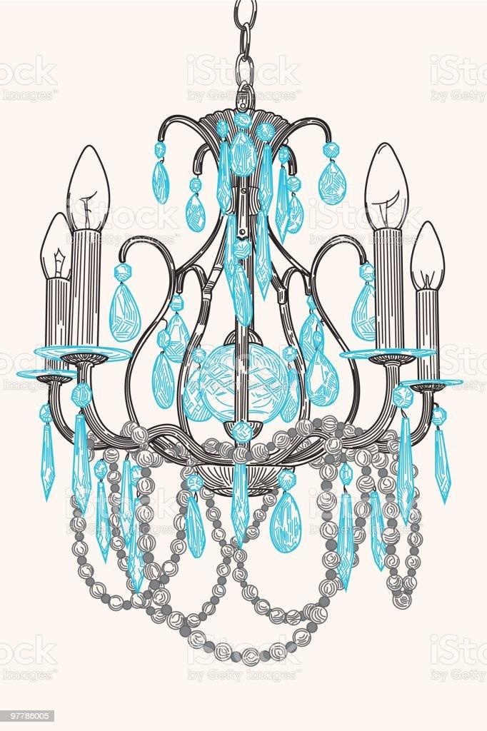 Crystal Chandelier vector art illustration