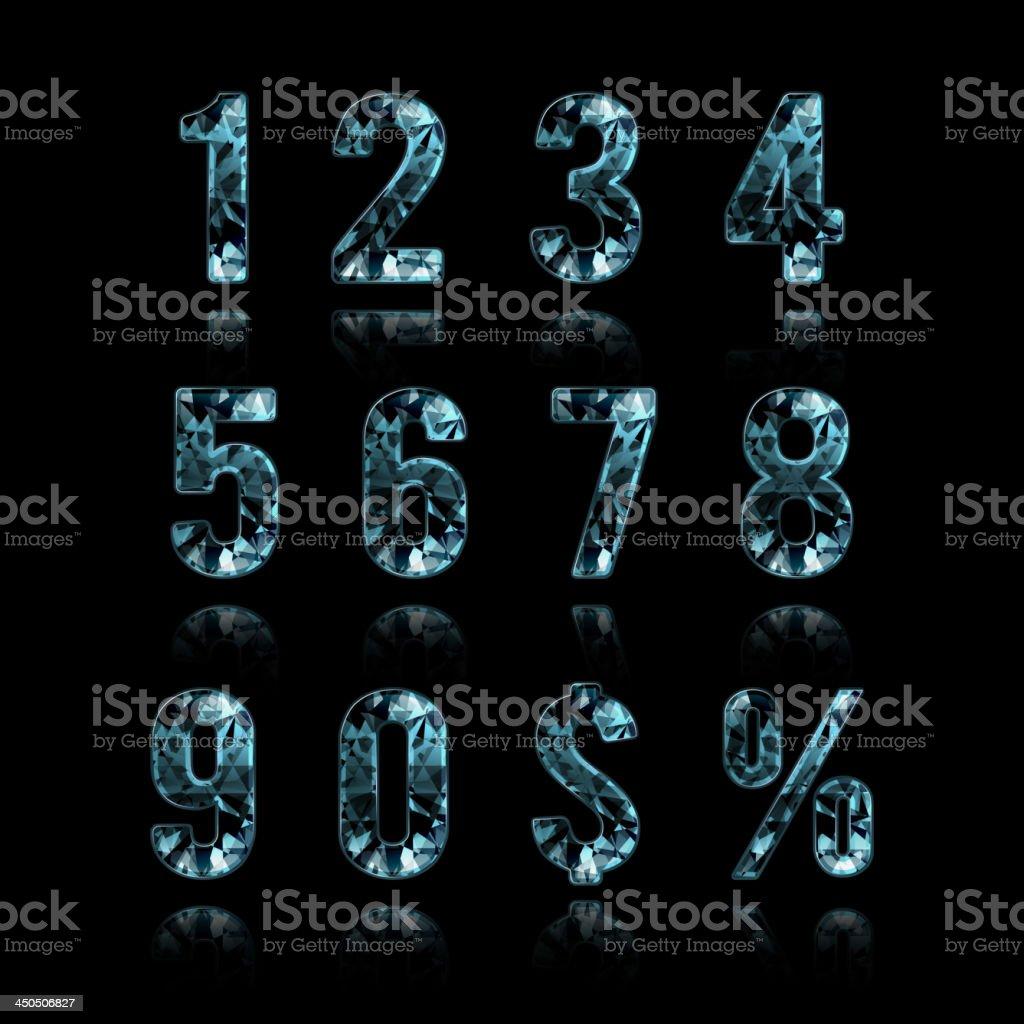 Crystal digits and symbols royalty-free stock vector art