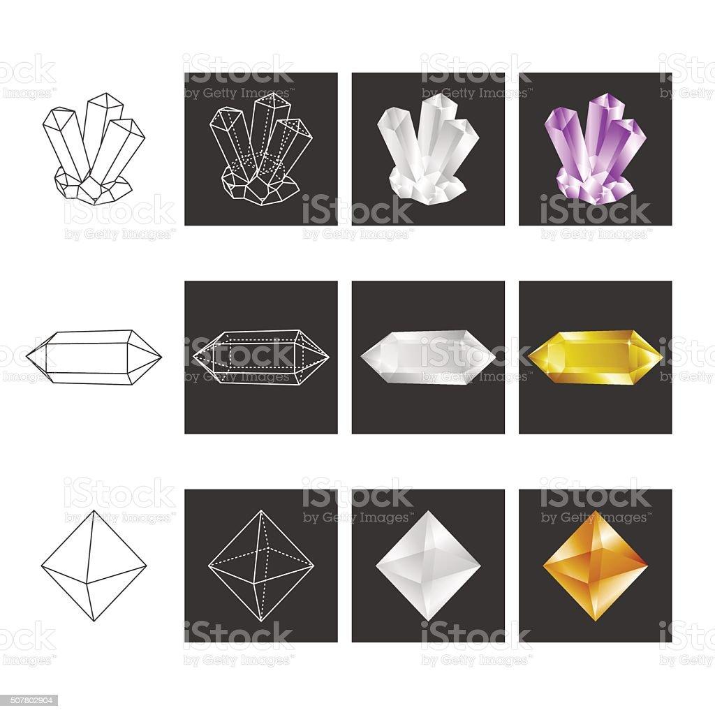 Crystal Geometry Shape Set. Colored Crystals In Polygon Geometri vector art illustration