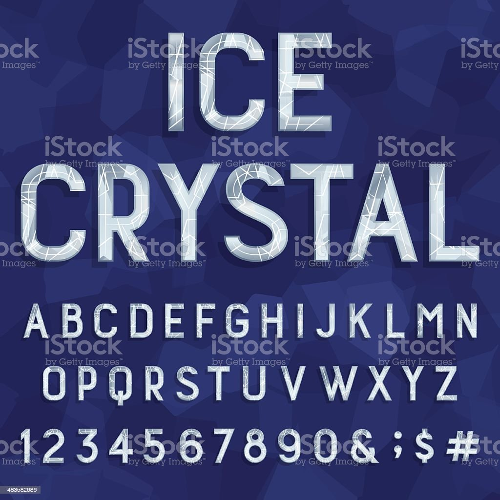 Crystal ice type font. Vector Alphabet. vector art illustration