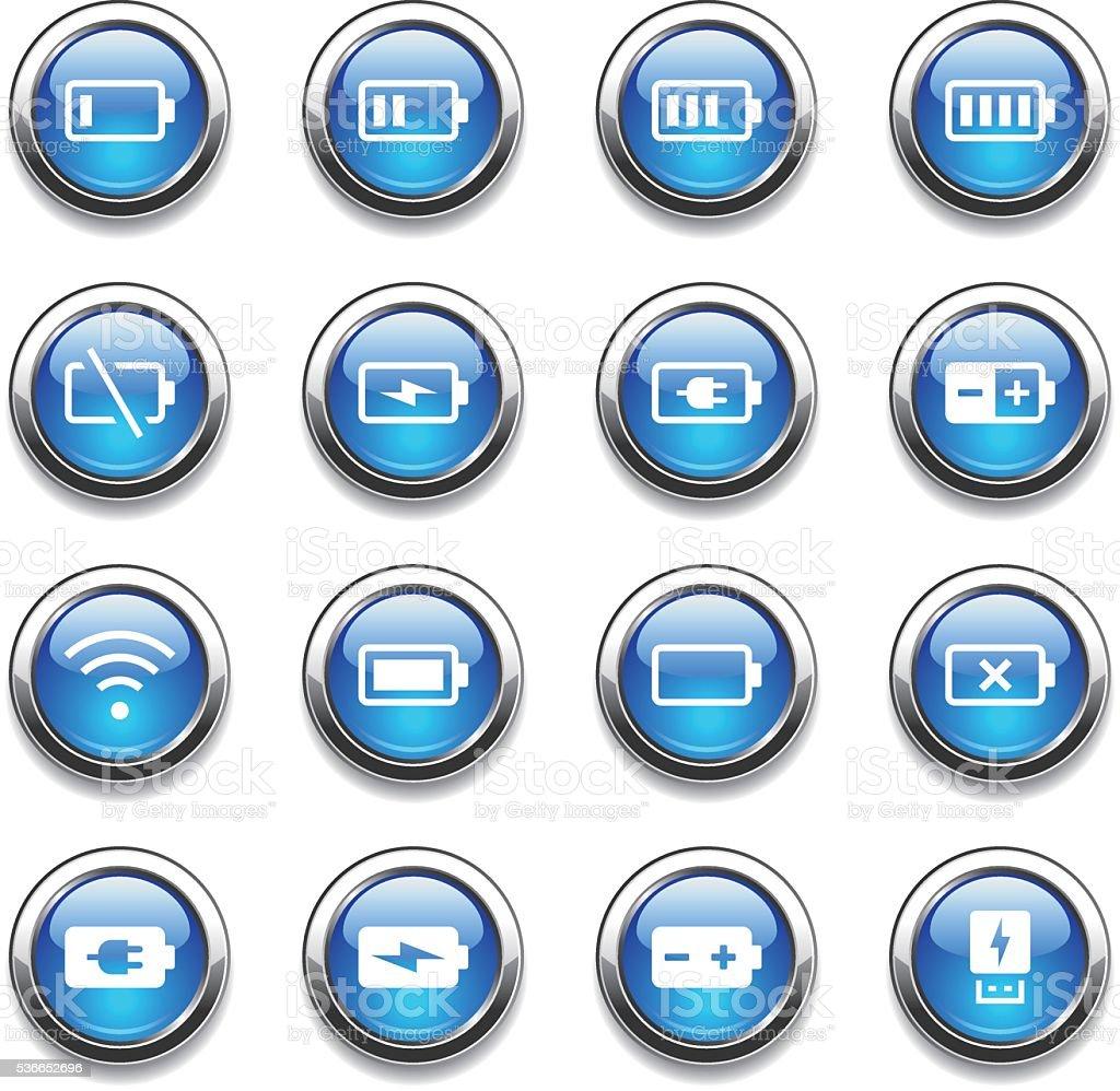 Crystal Icons Set   Battery & Power vector art illustration