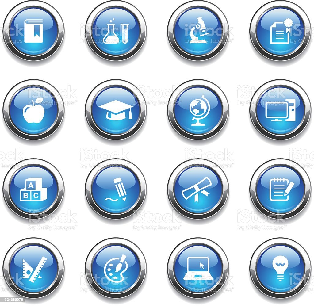 Crystal Icons Set | Education vector art illustration