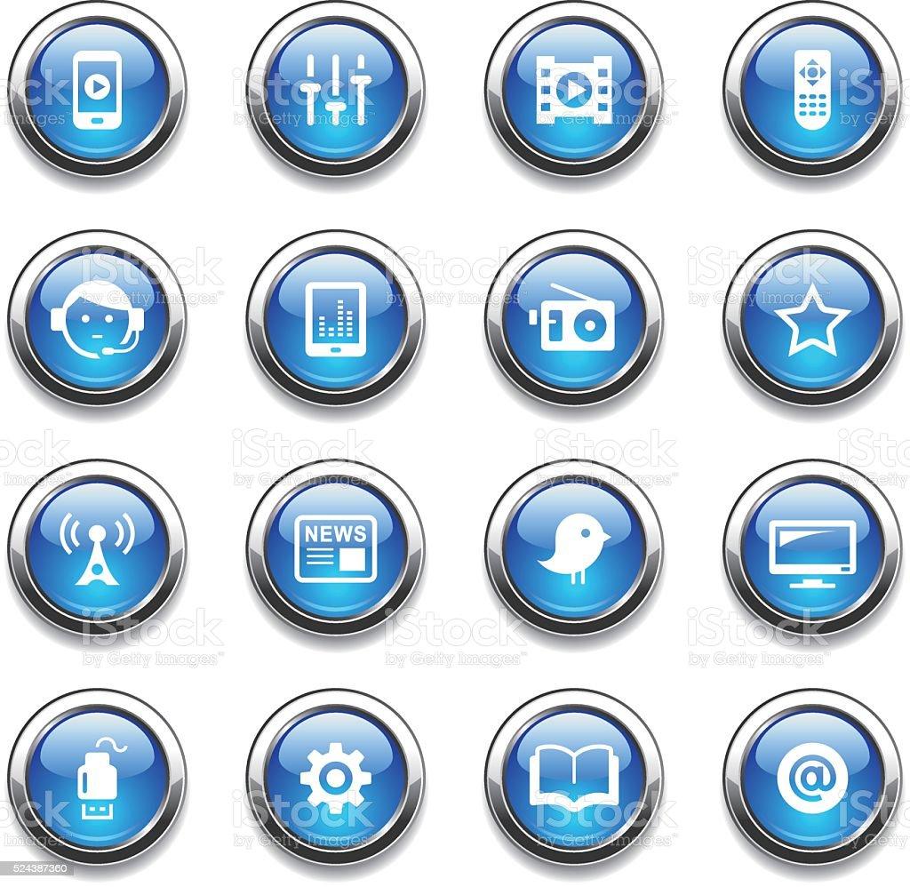 Crystal Icons Set | Media vector art illustration