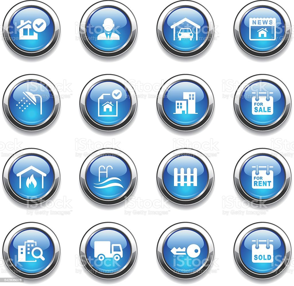 Crystal Icons Set | Real Estate vector art illustration