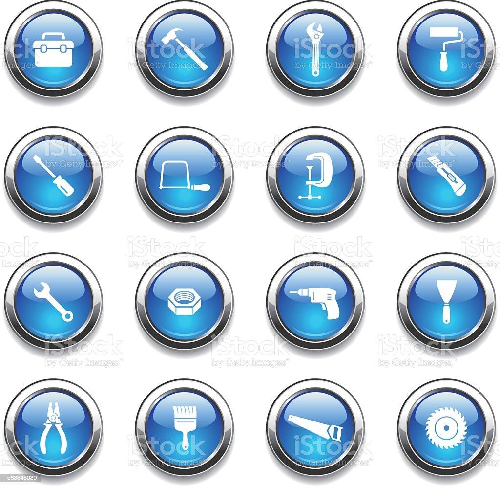 Crystal Icons Set | Tools vector art illustration