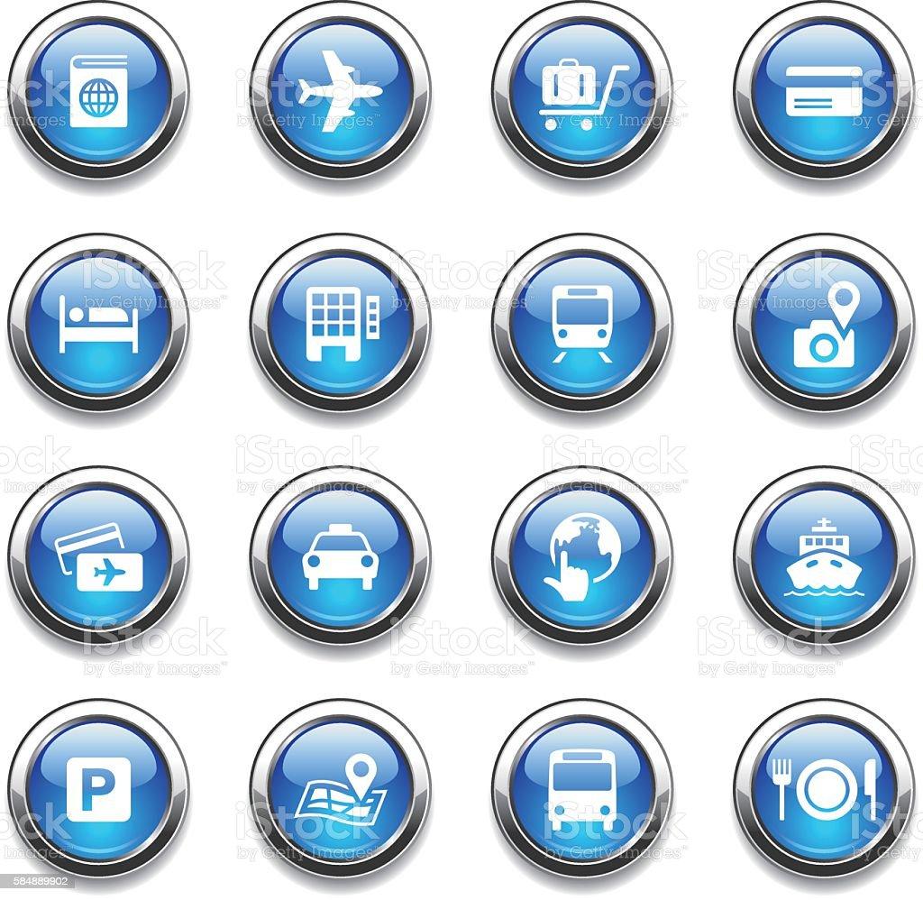 Crystal Icons Set | Travel vector art illustration