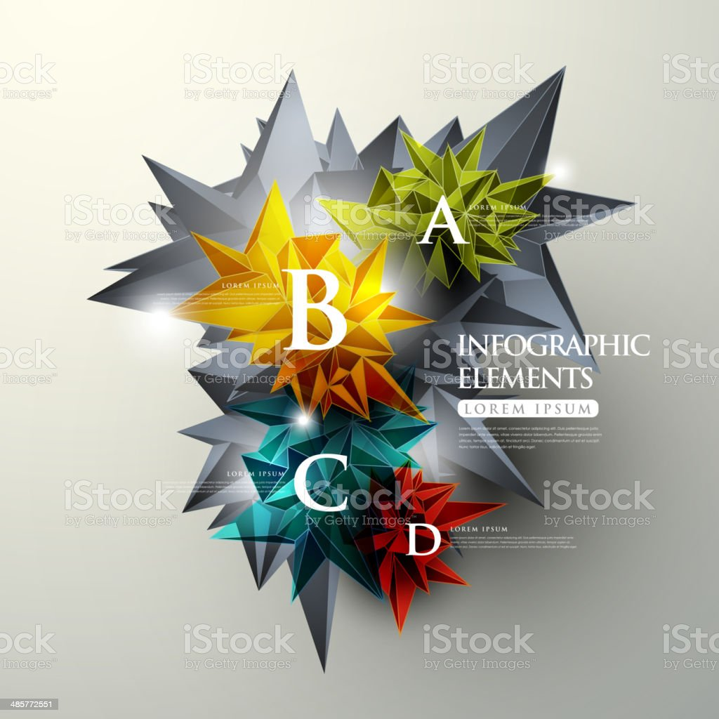 crystal infographic elements vector art illustration