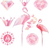 Crystal Pink flamingo, diamond, crown, heart, drop of water