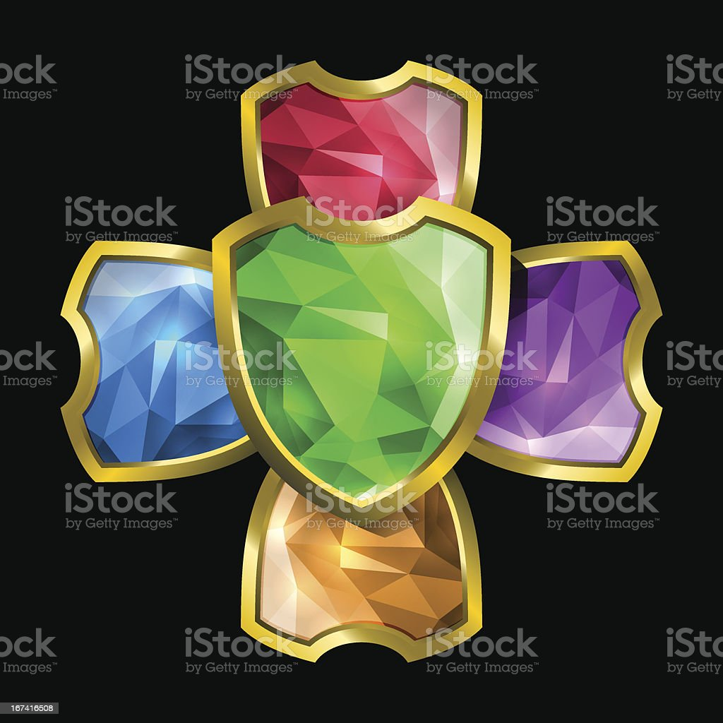 Crystal shields royalty-free stock vector art