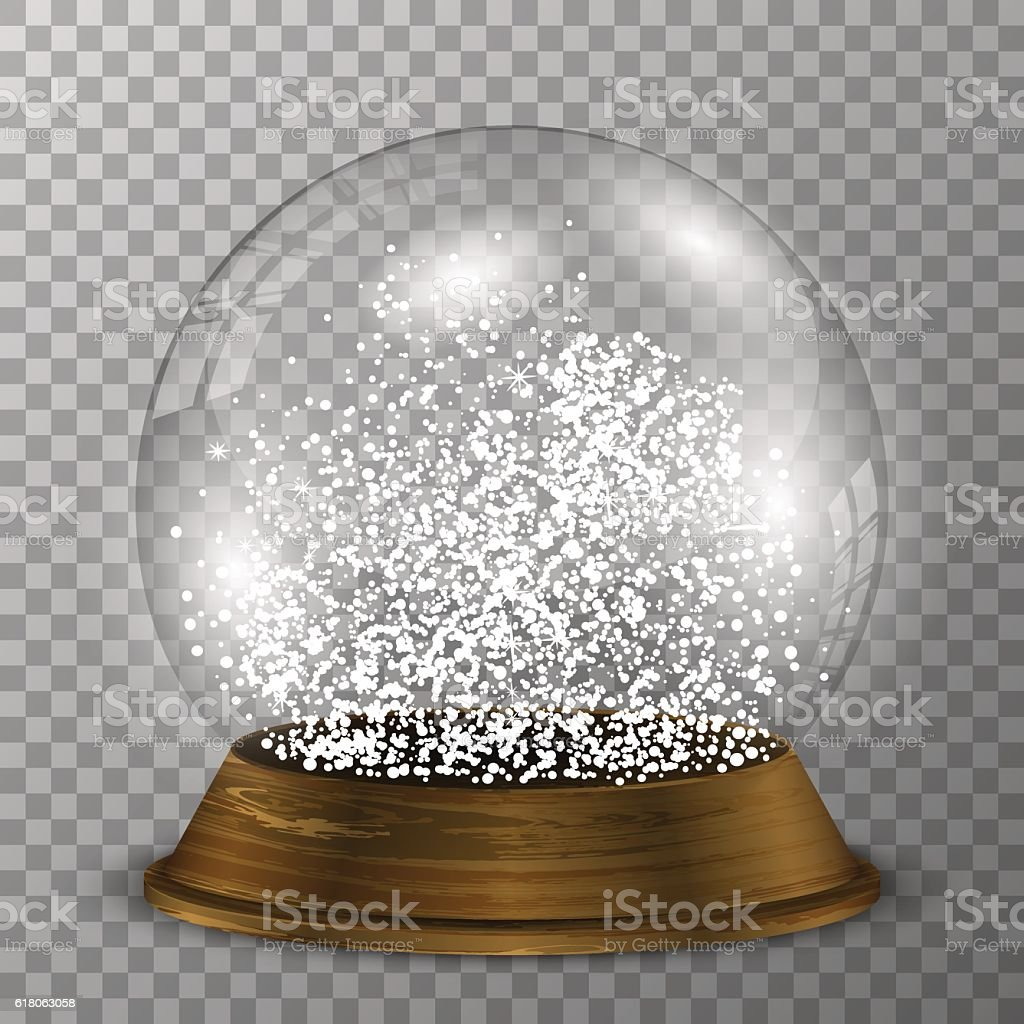 Crystal snow globe on wood stand. Transparent vector snowglobe. vector art illustration
