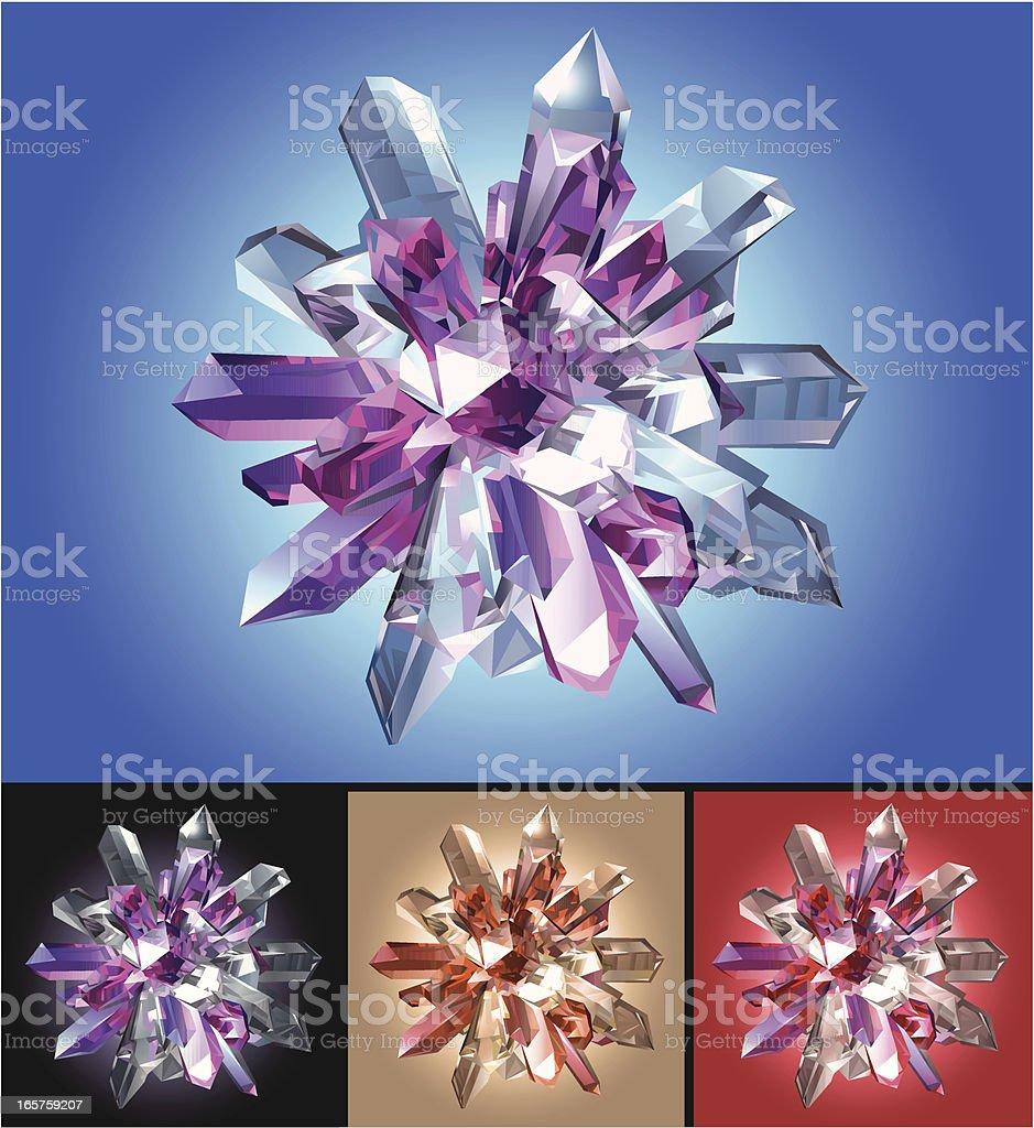 Crystal Star on Colored Background vector art illustration