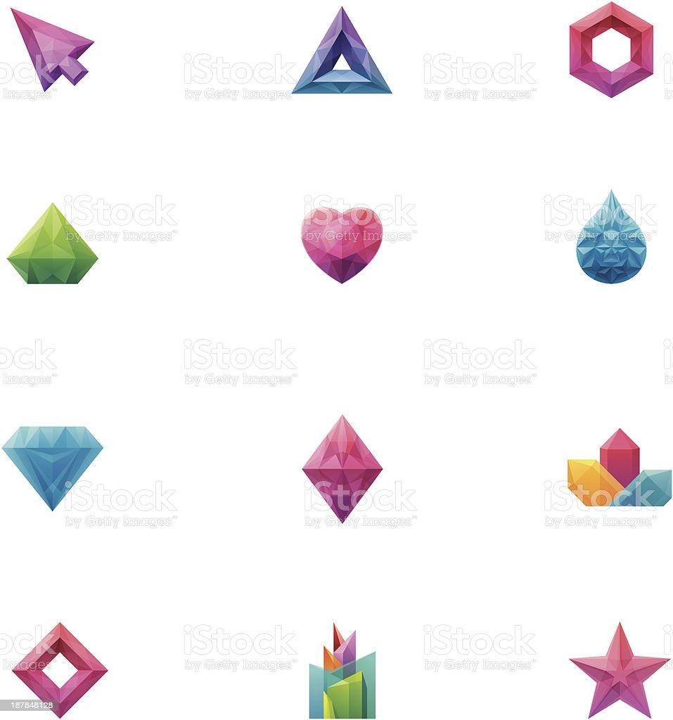 Crystals set royalty-free stock vector art