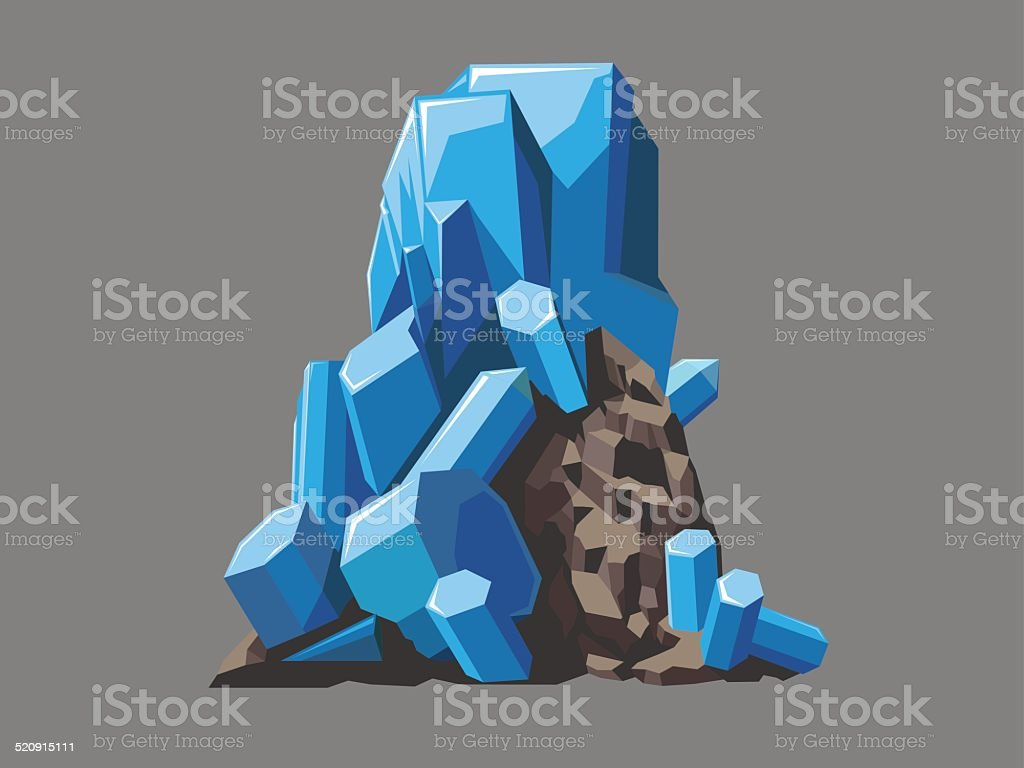 Crystals vector art illustration