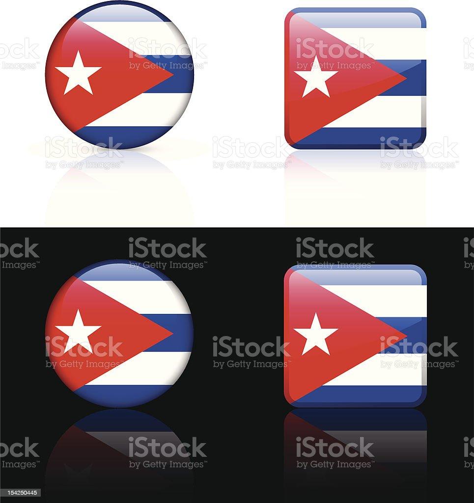 Cuba Flag Button Set royalty-free stock vector art