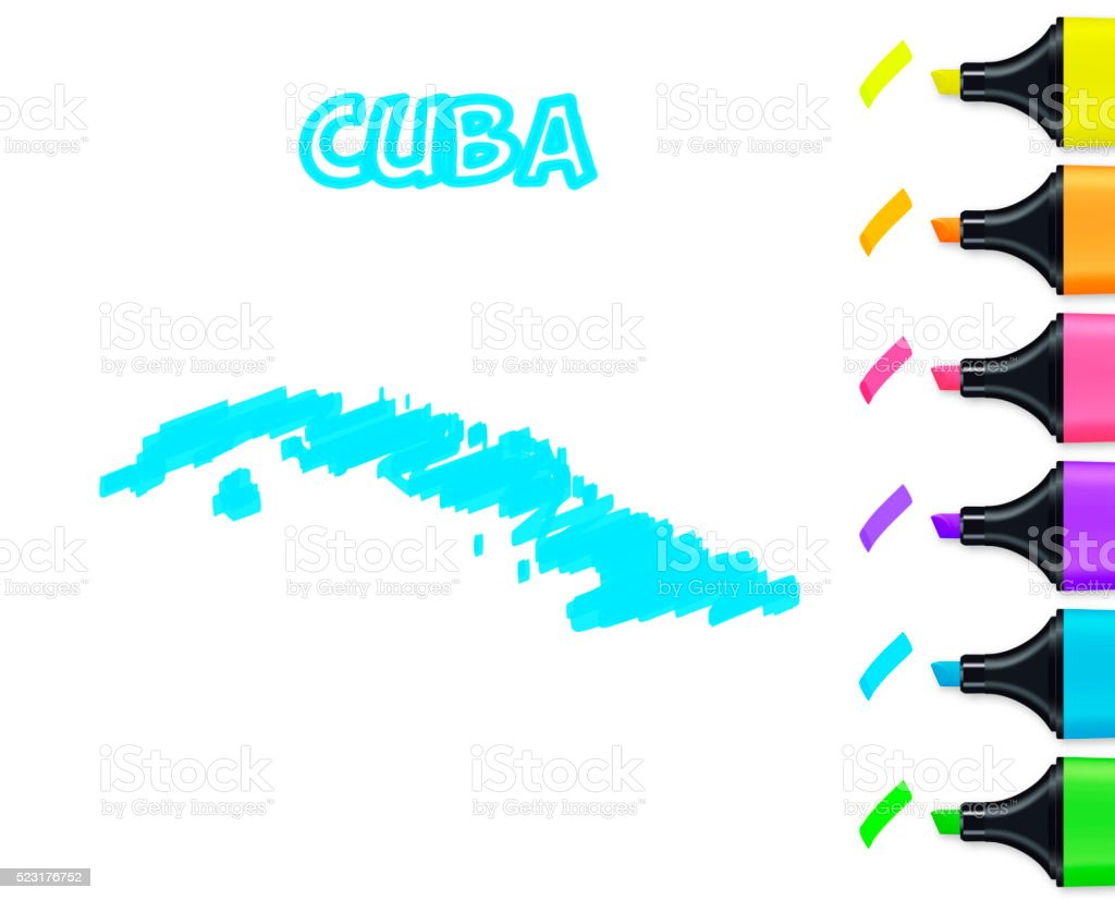Cuba map hand drawn on white background, blue highlighter vector art illustration