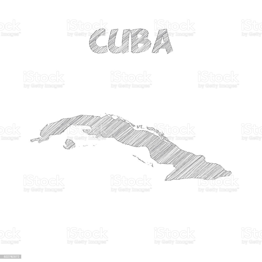 Cuba map hand drawn on white background vector art illustration