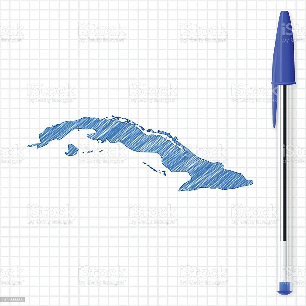Cuba map sketch on grid paper, blue pen vector art illustration