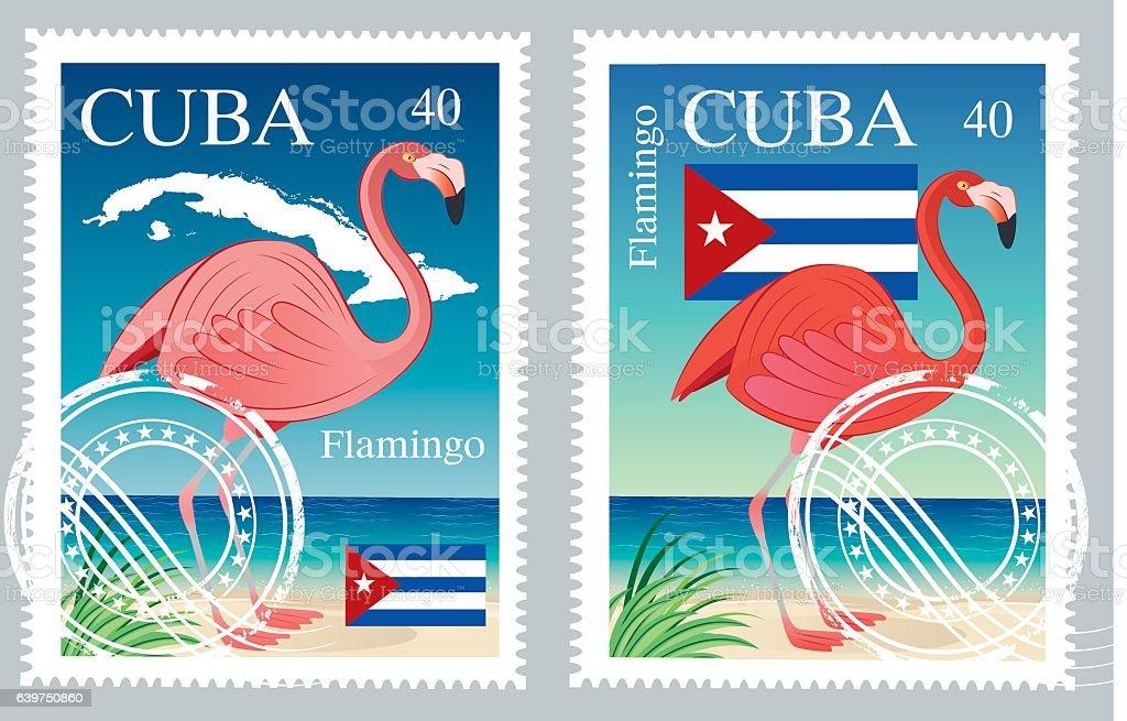 Cuba Stamps vector art illustration