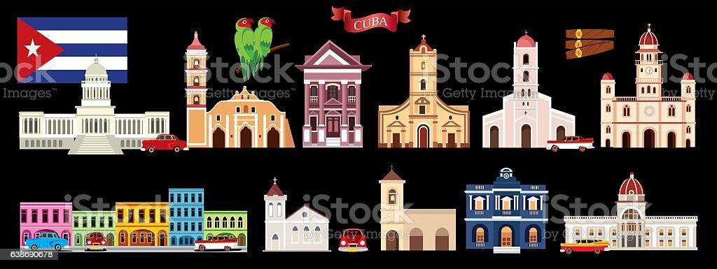 Cuba Symbols vector art illustration