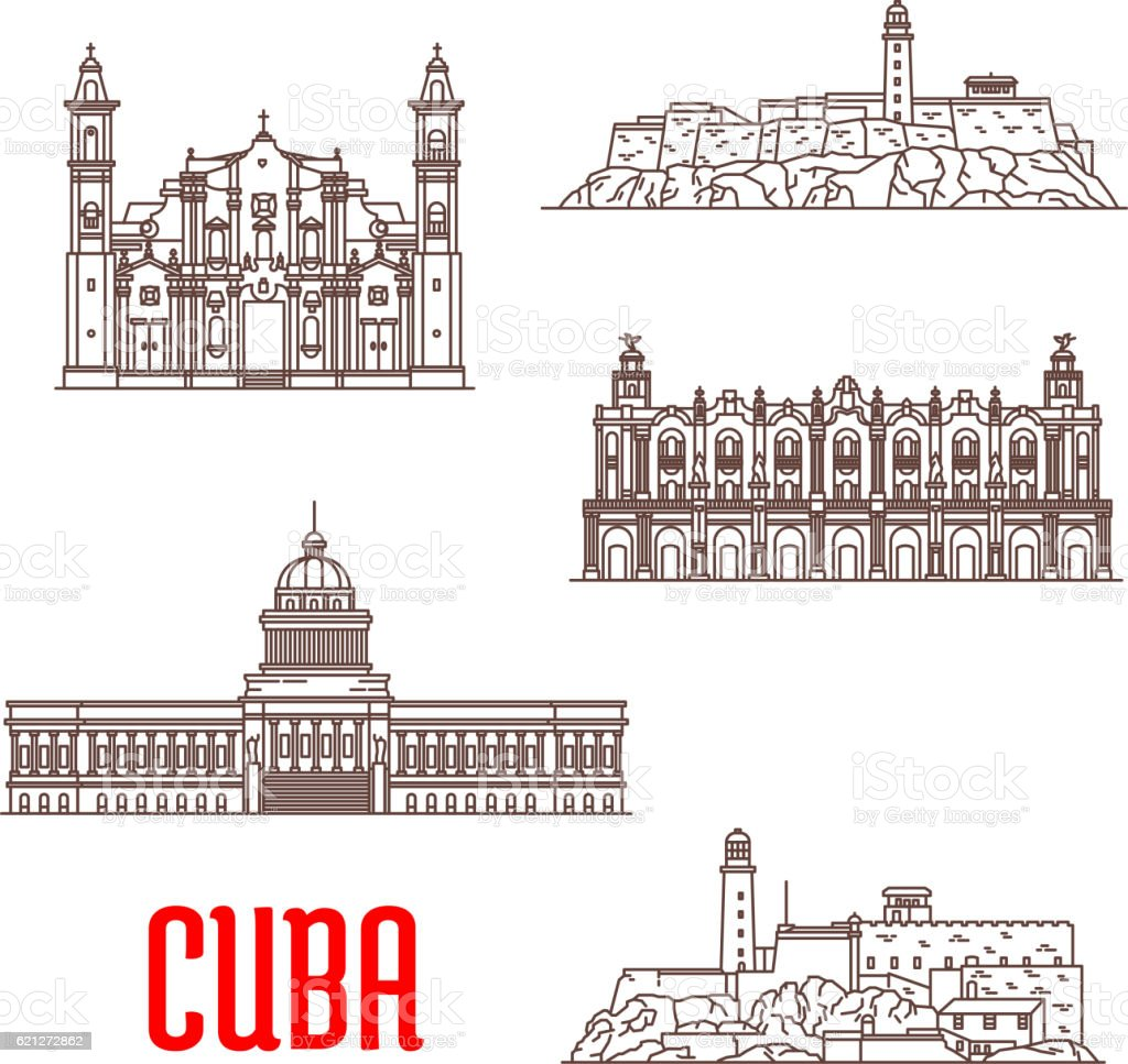 Cuba tourist architecture, travel attraction icons vector art illustration