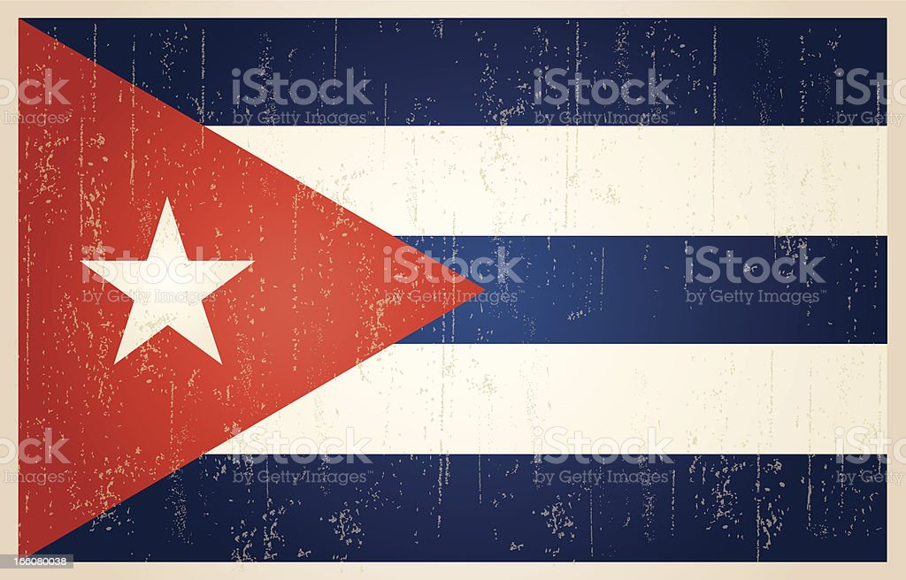 Cuban grunge vintage flag vector art illustration