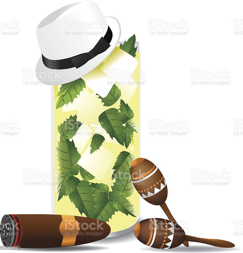 Cuban mojito with cigar, fedora and maracas. vector art illustration