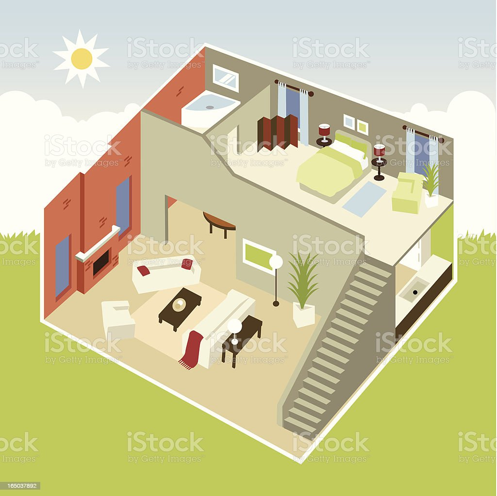 Cube apartment vector art illustration