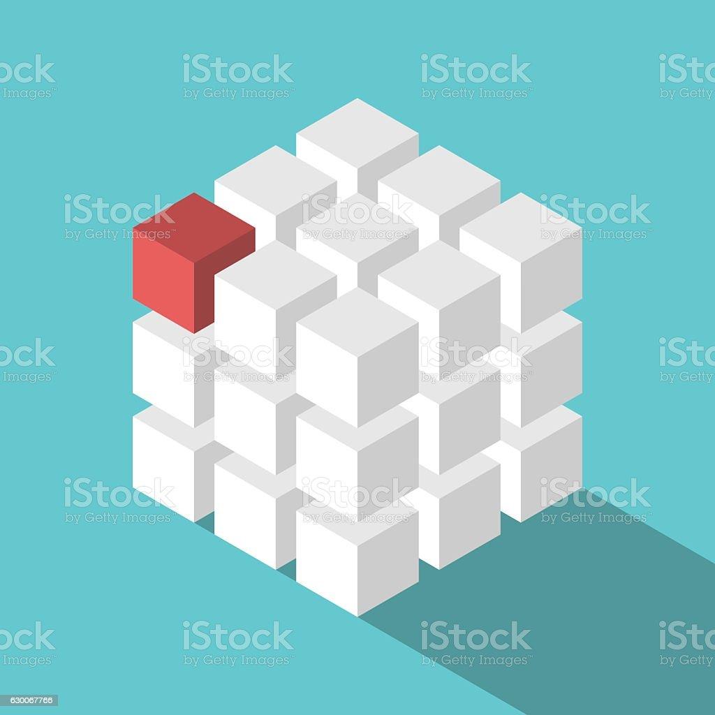 Cube assembled of blocks vector art illustration