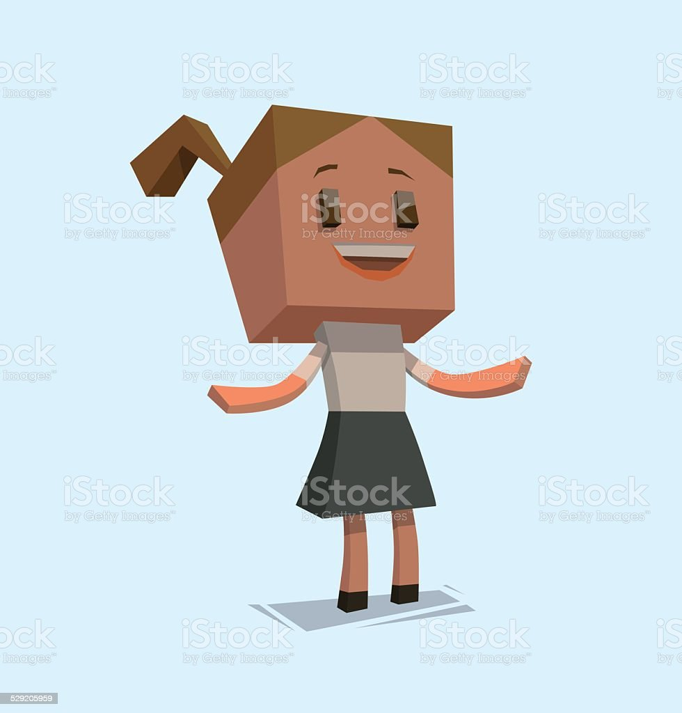 Cube business woman vector art illustration