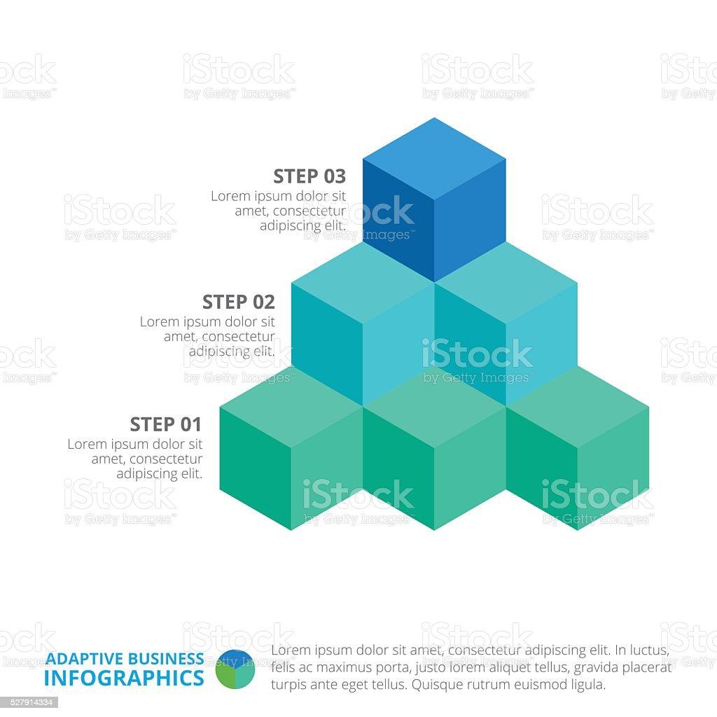 Cube Diagram Template vector art illustration