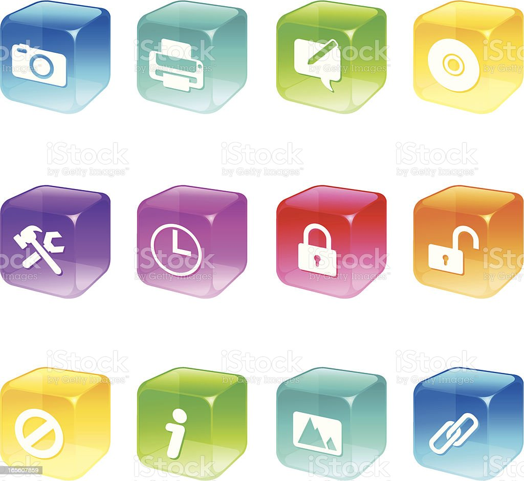 Cube Icons - Computer Applications Series royalty-free stock vector art