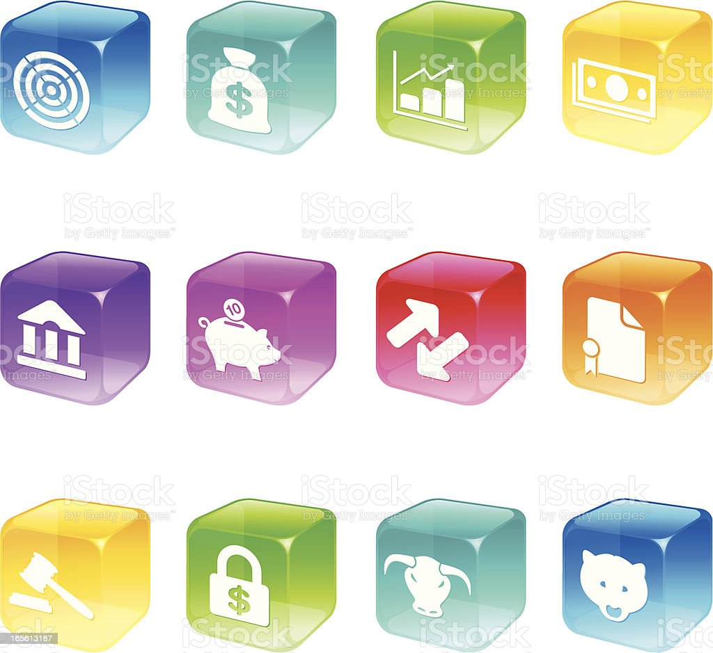 Cube Icons - Trading Floor Series royalty-free stock vector art