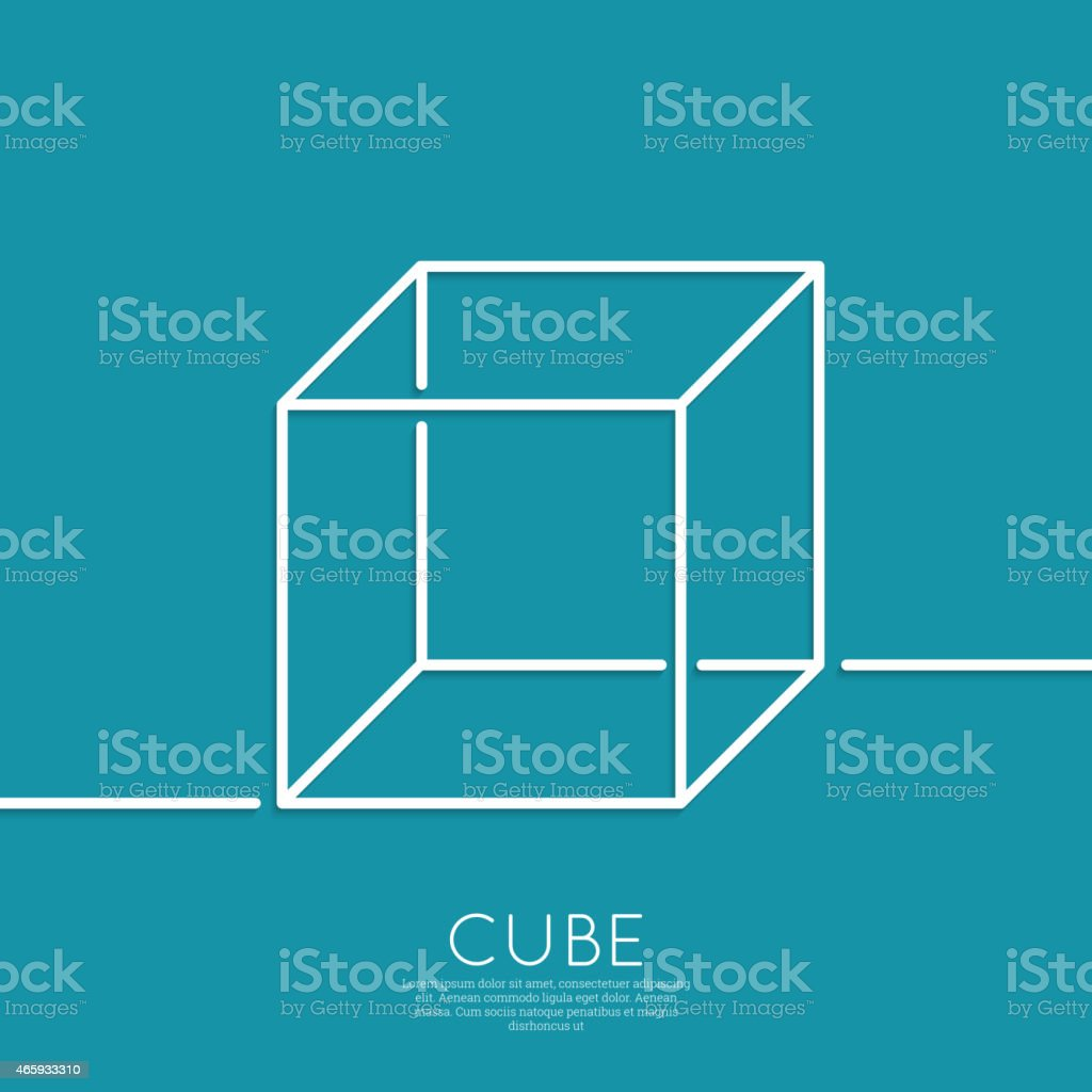 cube on a blue background vector art illustration