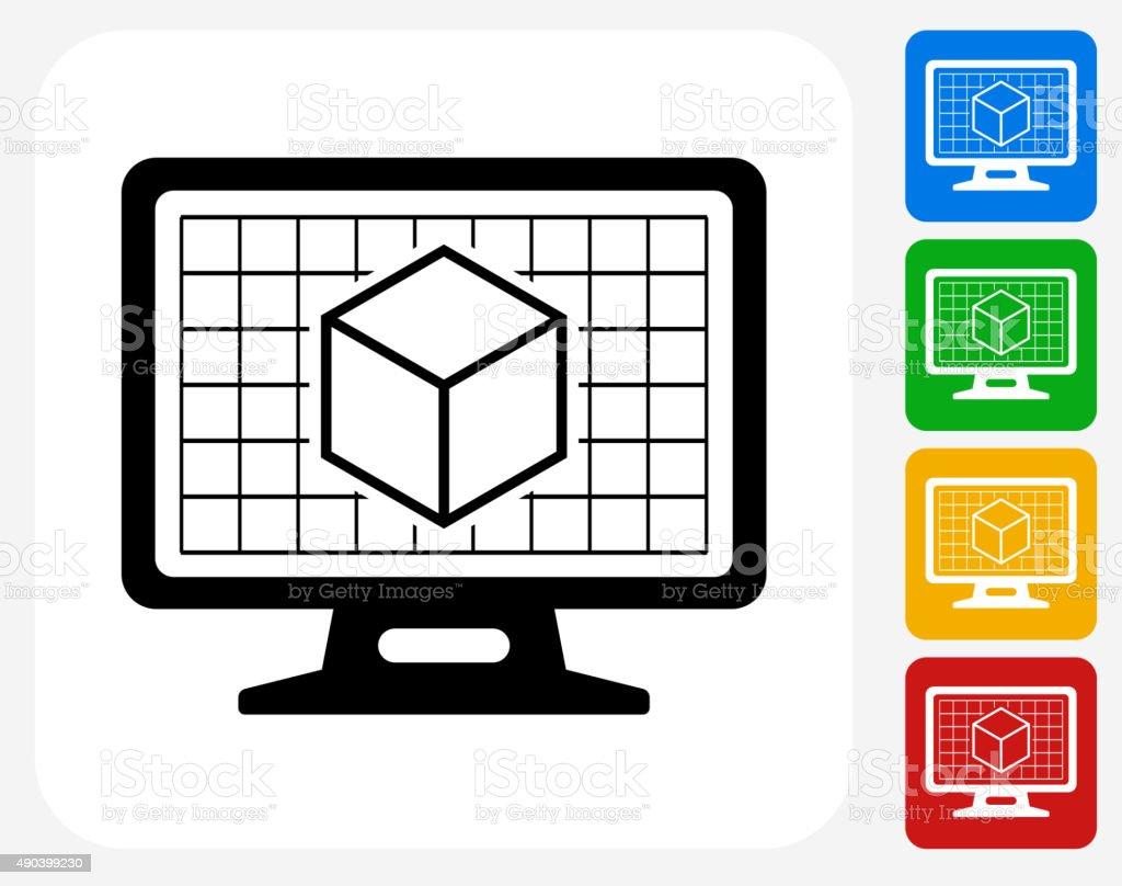 3D Cube on Desktop Screen Icon Flat Graphic Design vector art illustration