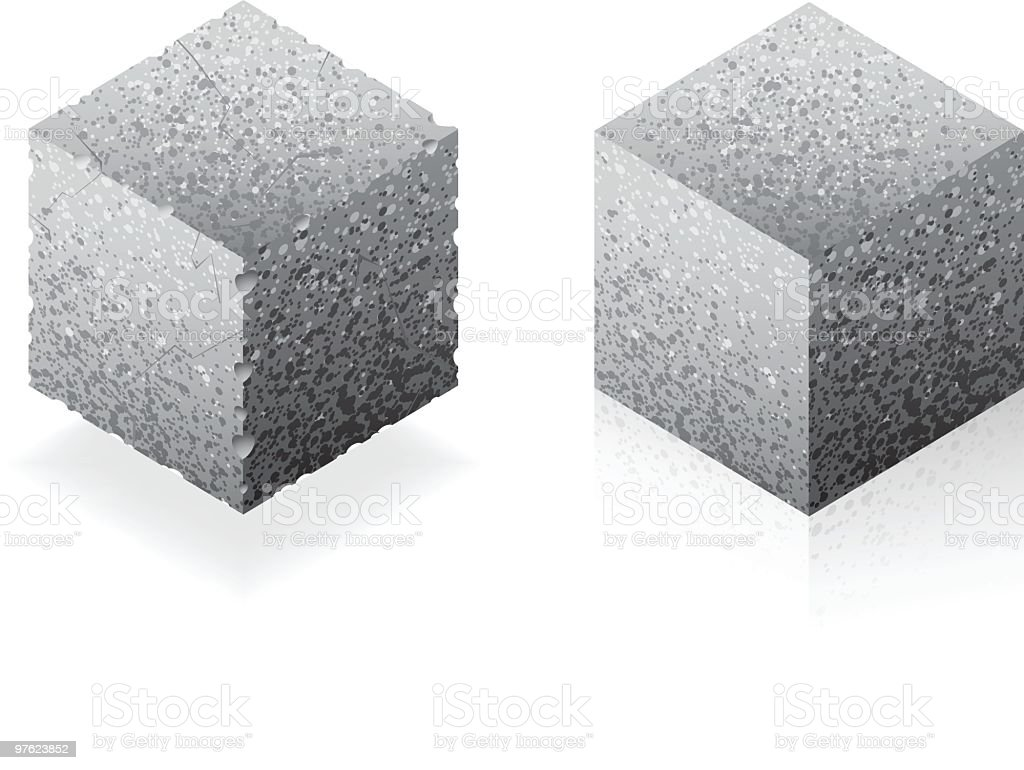 Cube or brick vector art illustration