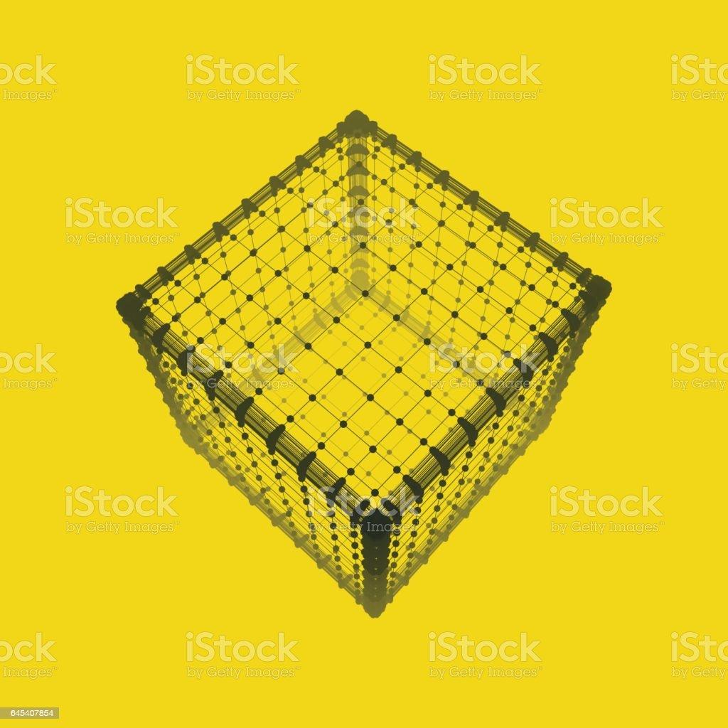 Cube. Platonic Solid. Lattice Geometric Element for Design. vector art illustration