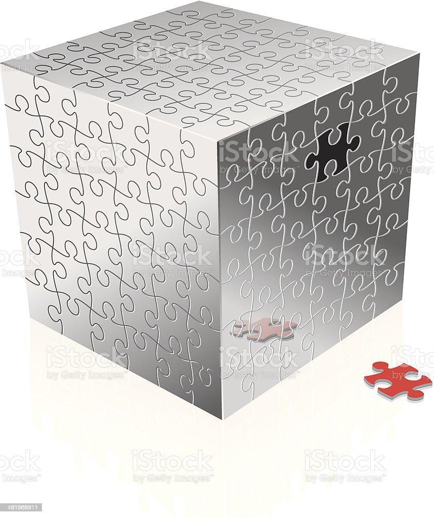 Cube puzzle vector art illustration