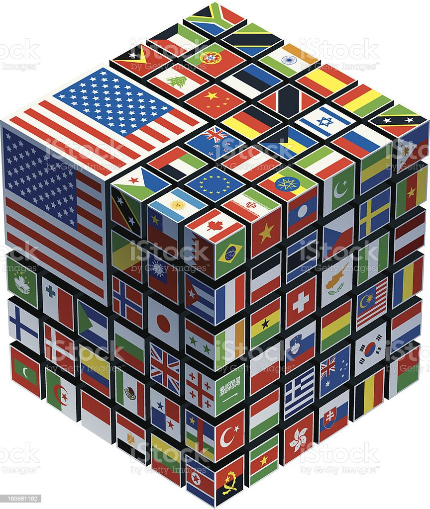 cube with national flags royalty-free stock vector art