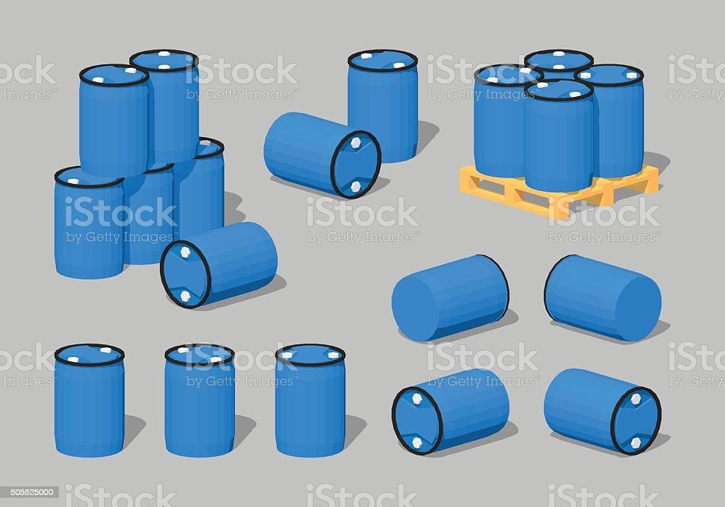 Cube World. Blue plastic barrels vector art illustration