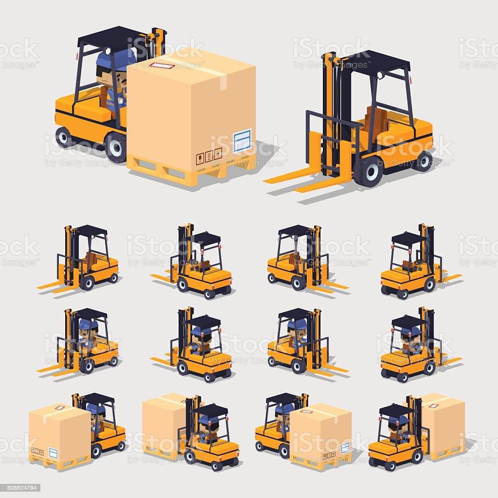 Cube World. Forklift vector art illustration
