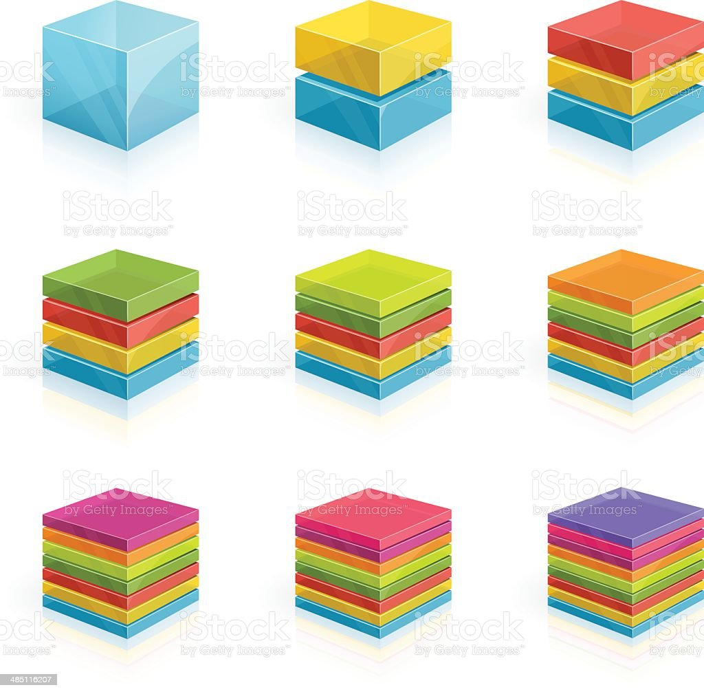 Cubes divided into two to nine rows- 3D series vector art illustration