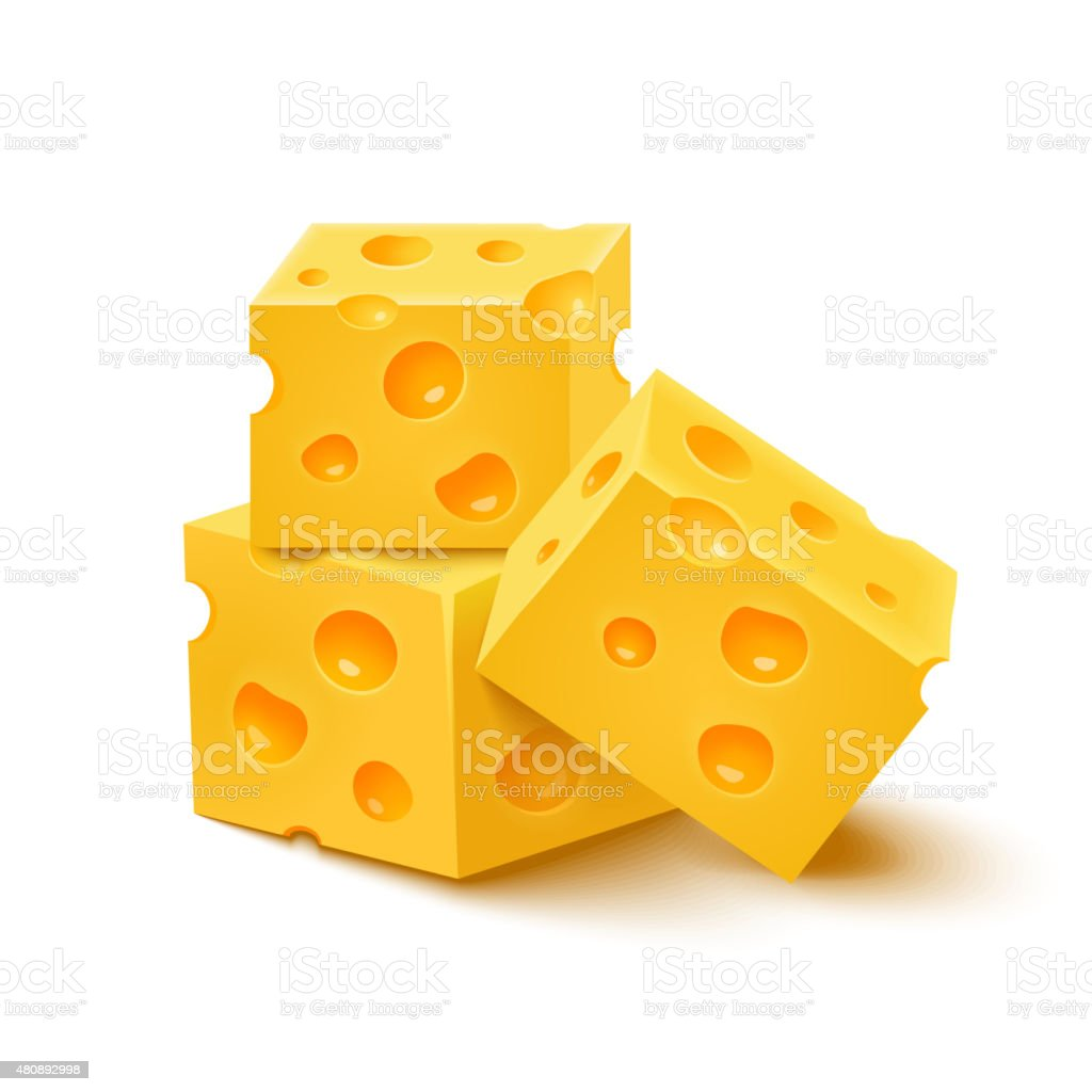 Cubes of yellow cheese on white background. Vector illustration vector art illustration