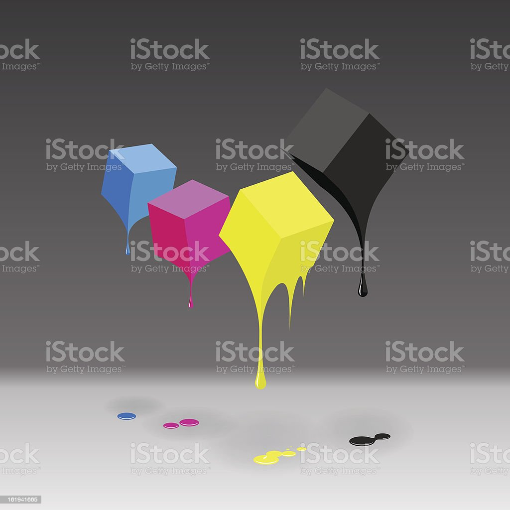 CMYK cubes with blobs on grey background. royalty-free stock vector art