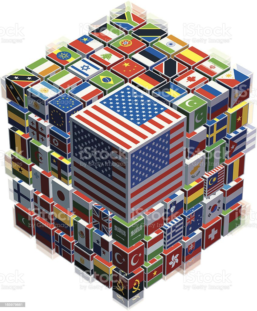 cubes with national flags royalty-free stock vector art