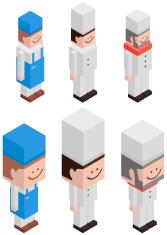 Cubic Chef vector art illustration