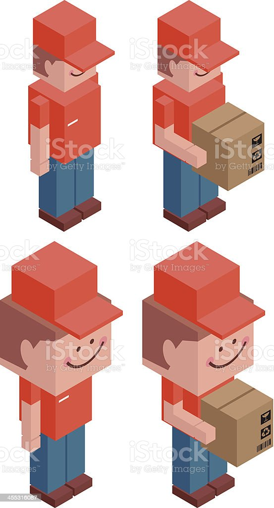 Cubic Deliveryman with Cardboard Box royalty-free stock vector art